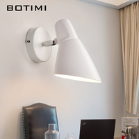 BOTIMI Modern Wall Light Black White Reading Lamp Applique Murale Luminaire Nordic Reading Wall Sconce Luminarias