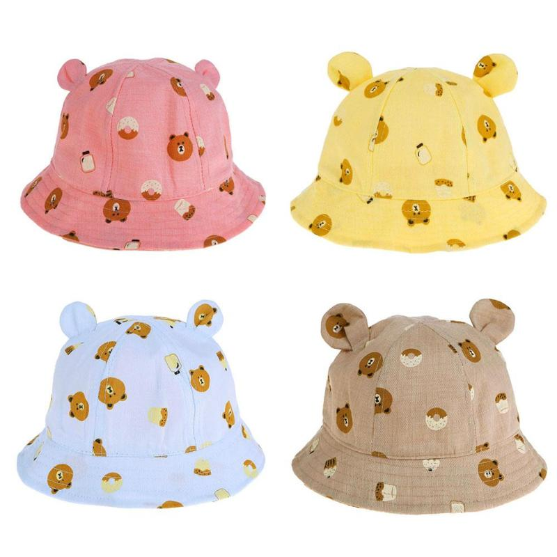 Детская летняя шляпа хлопок ребенка шляпу мультфильм милый медведь печати Дети ковша ВС Кепки мальчики девочки Подставки для фотографий Hat