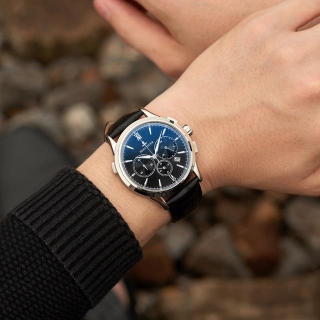 2021 Reef Tiger/RT Top Brand Luxury Date Men Watch Black Dial Steel Black Leather Strap Chronograph Quartz Watches RGA1669 3