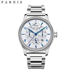 Image 4 - Parnis 43 มม.นาฬิกาอัตโนมัติ Moon Phase Power Reserve นาฬิกาผู้ชายแบรนด์หรู Miyota Mechanical Winder นาฬิกา PA6062 A ของขวัญผู้ชาย