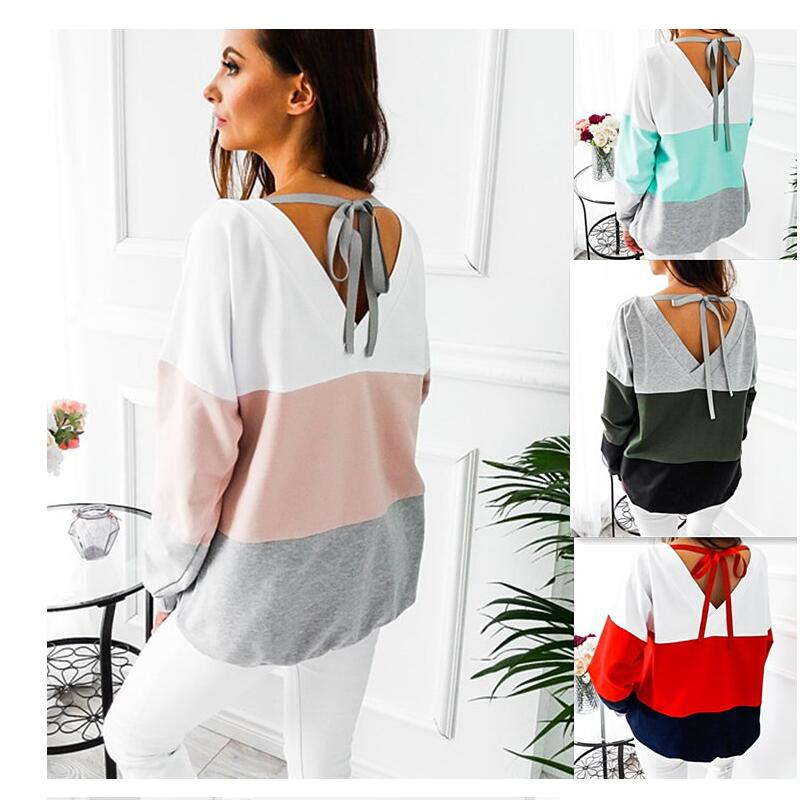 Womens Long Sleeve Striped Top Crew neck Casual Loose Splicing Colors Polyester 2018 Autumn Hoodies Pullovers