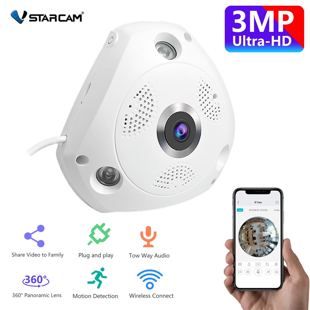iOS Support ONVIF 2.4 3.0 Megapixel Fisheye IP Camera 180//360 Degree Android
