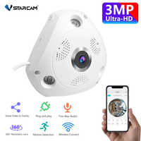 Vstarcam Wireless IP Camera Wifi 3MP Panoramic Home Security CCTV Camera 360 Degree Night Vision Two-way voice Support 128GB