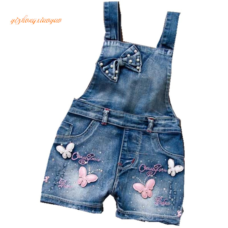 2016 SPRING Summer US Style Girl Jumpsuit Cute Sweet Fashion Washed Jeans Denim Romper Jumpsuits Straps Short Pants Cowboy Blue