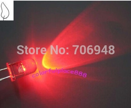 MIX 2colors Water Clear Through Hole 5mm Candle Flickering LED Diode Red/BLue Color Each Kind 50pcs
