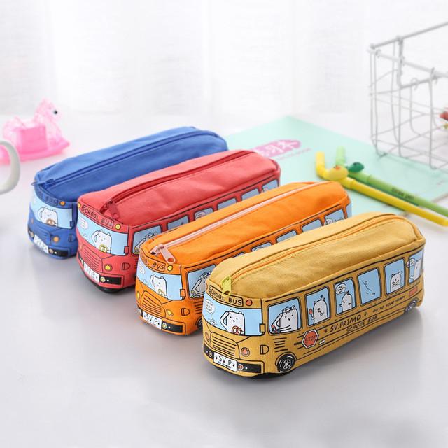 Large Capacity Creative Cartoon School Bus Pencil Case