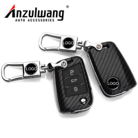 ANZULWANG Car Key Cover Case Carbon Black Protect Shell For Volkswagen Lamando Tiguan L GOLF 7