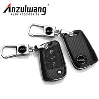 ANZULWANG Car Key Cover Case Carbon Black Protect Shell For Volkswagen Lamando Tiguan L GOLF 7