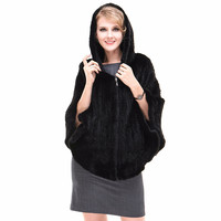 Autumn Winter Women's Genuine Natural Knitted Mink Fur Shawl With Hoody Ruffle Hem Wraps Lady Pashmina Poncho VF7049