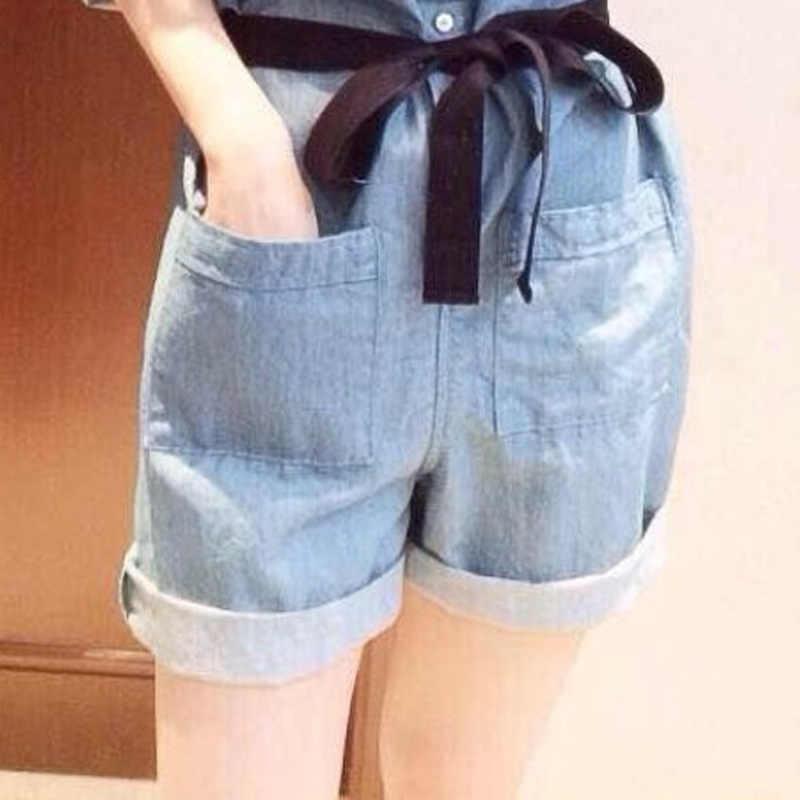 Las mujeres mono de verano bolsillos pantalones cortos Denim Collar Casual pantalones TH36