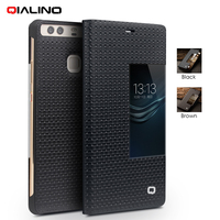 QIALINO For Coque Huawei P9 Phone Cases Smart View Window Grid Texture Genuine Cowhide Leather Case