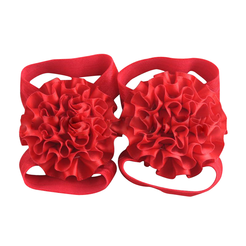 Baby Girl Ribbon Flowers Barefoot Sandals Shoes (Red)