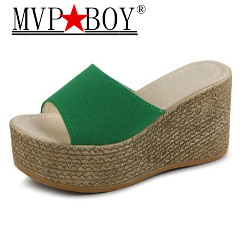 Mvp Boy 34 40 Summer Platform Wedges Flip Flops Women Flowers Beach Sandals Fashion Casual Mid Heels Shoes Bohemian Slippers in Slippers from Shoes