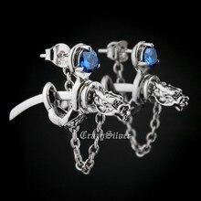 LINSION 925 Sterling Silver Dragon Japanese katana CZ Stone Mens Biker Rock Punk Stud Earring 8M109
