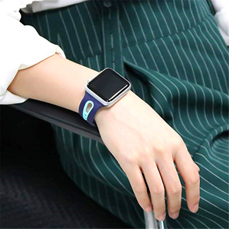 Sports Watch Band Soft Silicone Strap For Apple Watch 44 42 40 38mm Wristband Breathable Bracelet Band For IWatch Series 4 3 2 1 in Watchbands from Watches
