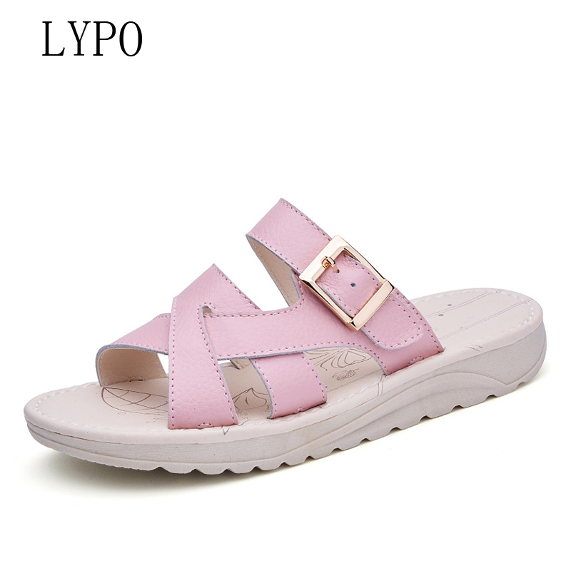 LYPO Summer new cool sandals comfortable non-slip sandals beach sandals flip-flops casual flat-bottomed women slippers suihyung design new women and men summer flat shoes hit color breathable hollow beach slippers flips non slip unisex sandals