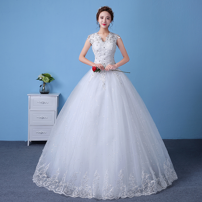 Cheap Customizable White Wedding Dress 2016 Korean Style Lace V Neck ...