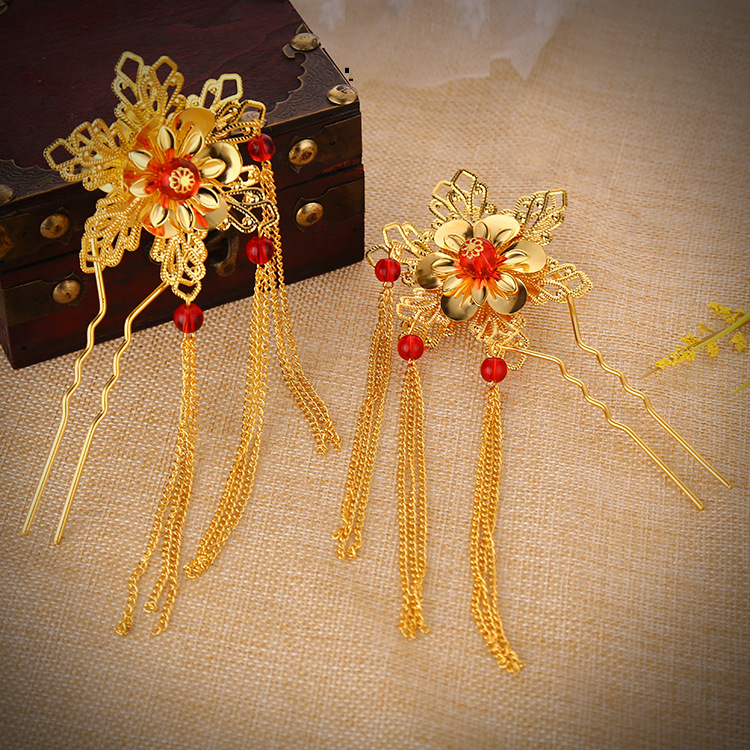 Gold Red Acrylic Hairpin Jewelry Bride Head Flower U shaped Tassel Plate