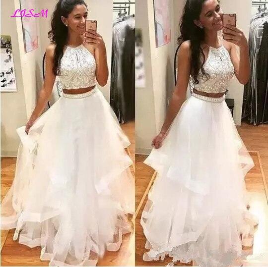 Blanc deux pièces longue robe de bal licou Tulle perles de cristal robe de soirée belle à plusieurs niveaux robes de soirée pour les filles vestido formatura