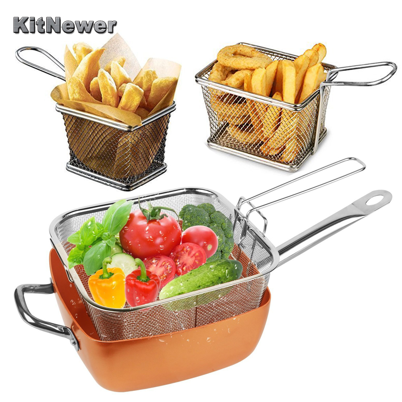 Qualified Kitchen Tools 1pc Electroplate Stainless Steel Mini Frying Basket Mesh Basket Strainer Net 2017 GIFT Dropship