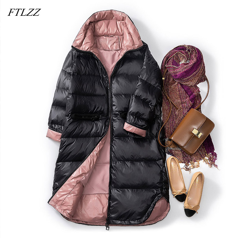 FTLZZ 2019 Ultra Light  90% White Duck Down Jacket Women Slim Down Long Coat Winter Parkas Female Warm Parkas Snow Outwear