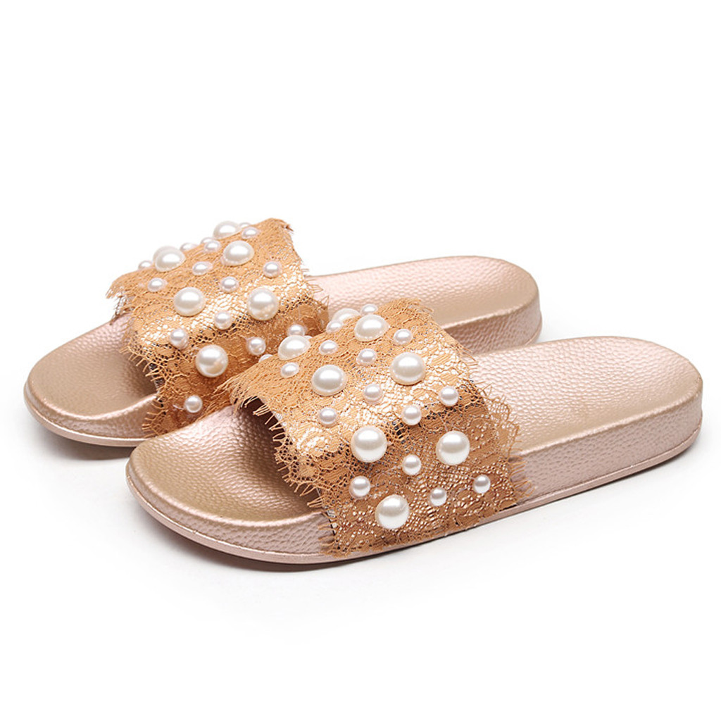 Lace Pearl Flip Flops Women Slippers Flat Ladies Shoes New Slip On Slides Beach Pearl Fashion Female Slippers Flip FlopsLace Pearl Flip Flops Women Slippers Flat Ladies Shoes New Slip On Slides Beach Pearl Fashion Female Slippers Flip Flops