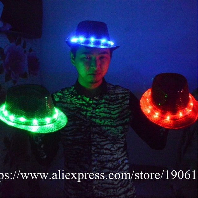 Fashion LED Hat Party Supplies Luminous Flashing Cap Fedora Hip Hop Dancing  Bar Decoration Christmas Stage Performance Headwear d58a5753ab00