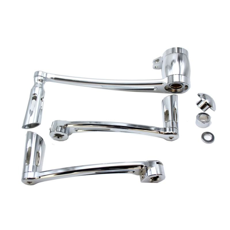 New Chrome Deep Cut Brake Arm Kit Shift Lever W/ Shifter Pegs For Harley Touring 2014-2016 15 chrome deep cut brake arm kit shift lever w shifter pegs for harley touring flt flhx flht flhr fltr flhtcutg 2014 2018