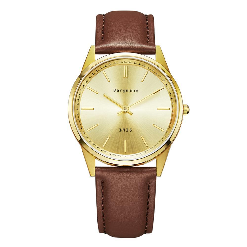 german watches vintage promotion shop for promotional german german brand bergmann bauhaus style vintage watch men gold quartz watches genuine leather extra thin slim casual wristwatch gift