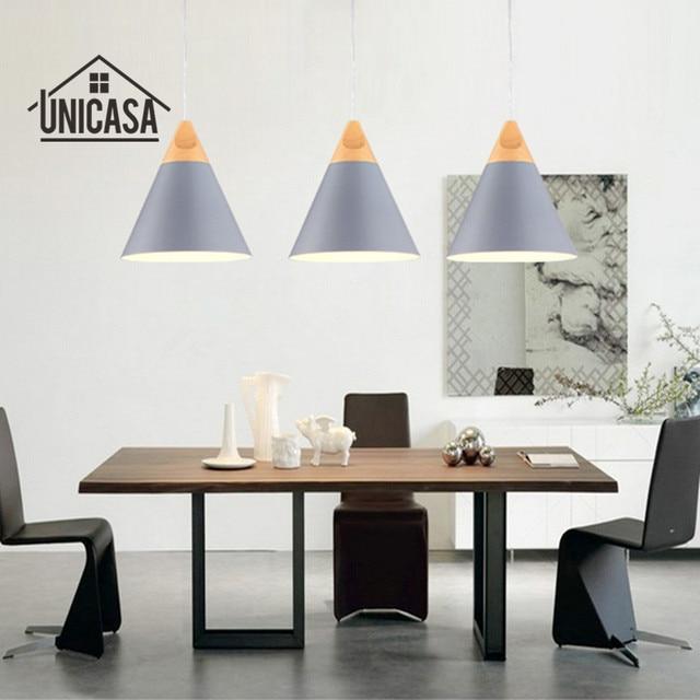 Industrial Wood Pendant Lights Modern Gray Aluminum Mini Led