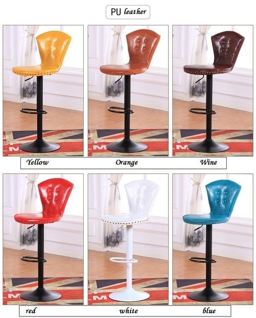 Amarillo Orange color taburete pu cuero asiento muebles para el ...