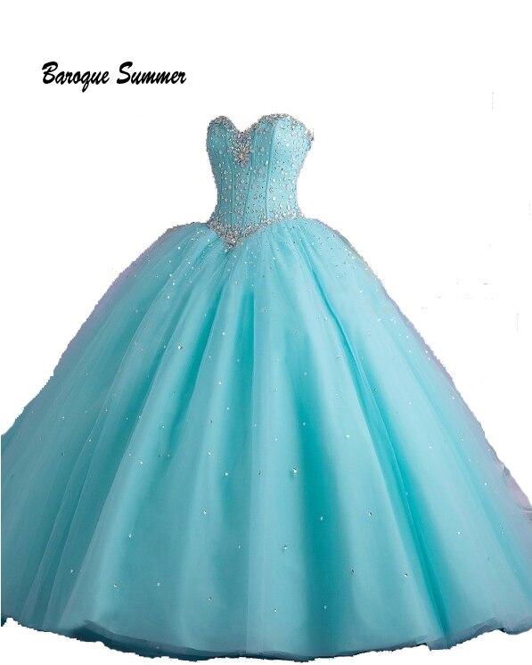 Ball-Gown Quinceanera-Dresses Crystal Anos Vestidos-De-15 Sweet 16 Beaded Light-Blue