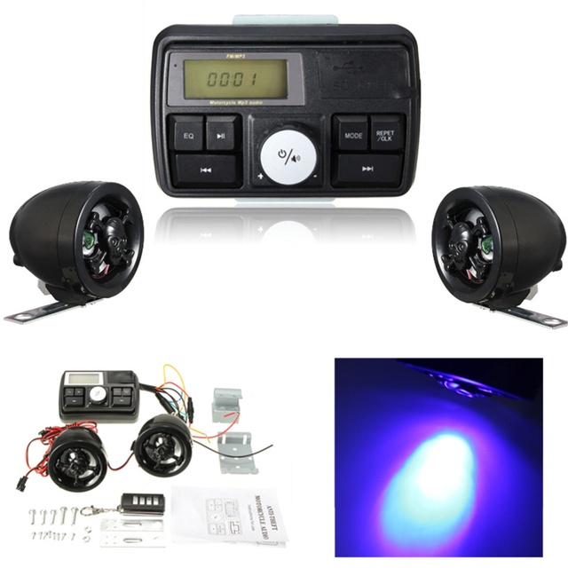 Anti-theft Motorcycle Handlebar Audio System Alarm MP3 Player Speaker FM USB / SD