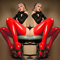 Fetiche De Látex Rojo Medias Apretadas de Vidrio Gótico Brillante Sexy Stretch PVC Vinilo Látex Media Del Muslo Gimnasio Leggins Pantalones Legging