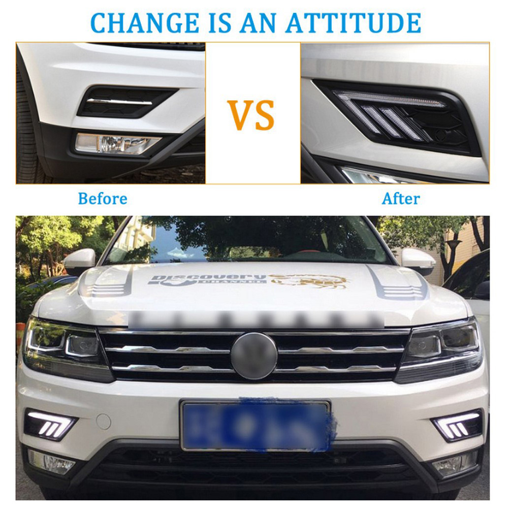 Image 5 - 2*LED Daytime Running Lights Front Light External Lights For Volkswagen Tiguan L Auto Waterproof Car Styling Front Light-in Car Light Assembly from Automobiles & Motorcycles