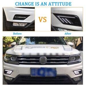 Image 5 - 2 * LED النهار تشغيل أضواء الجبهة ضوء أضواء خارجية ل Volkswagen تيجوان ل السيارات مقاوم للماء سيارة التصميم الجبهة ضوء