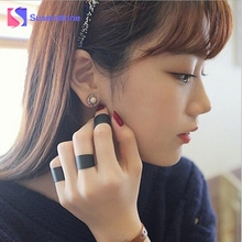 susenstone New Womens Ring Trendy Punk Cool Black Metal 3Pcs Simple Knuckle Rings Set Fashion Jewelry 2017 Party Accessories HOT