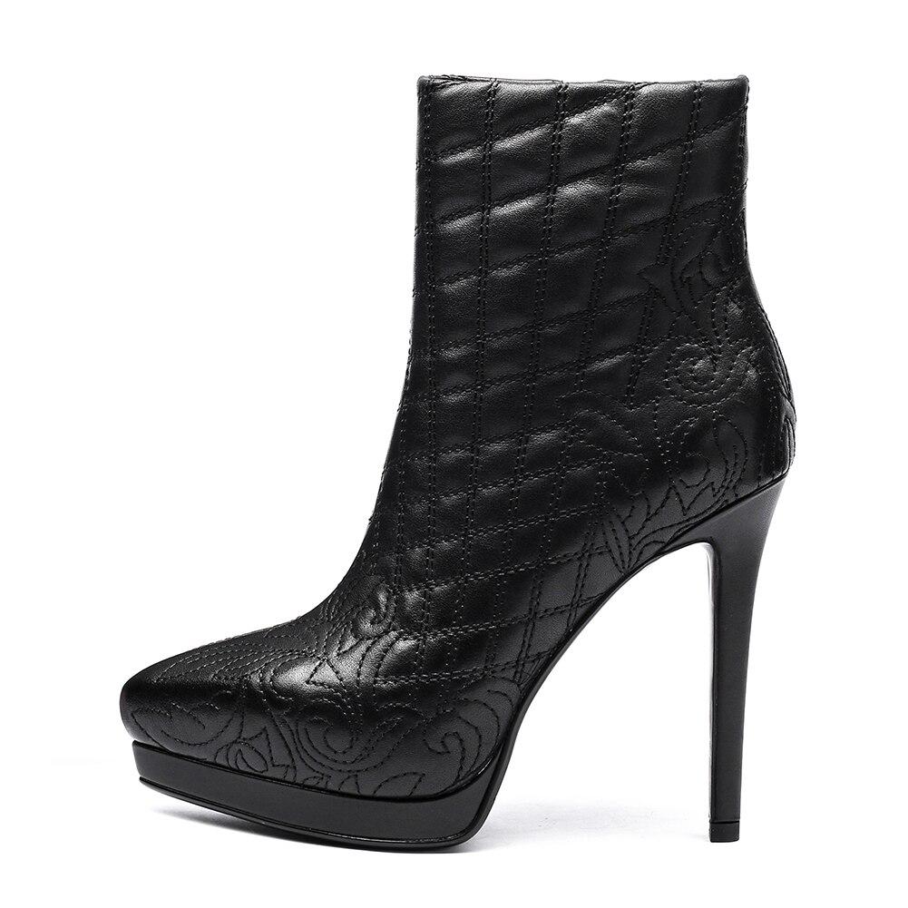 Marque Automne Cuir Zip Beige forme Talons Plate Up Vache Femme Doratasia Chaussures Gros Nouvelle Hiver Haute noir Bottes En Cheville dUnZO4q