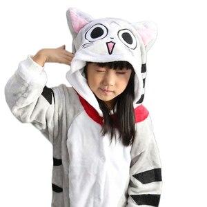 Image 3 - kigurumi New Hooded Children Pajamas Winter Flannel Cartoon Cat   Kids Boys Girls Pijamas Baby Cosplay Pyjamas Sleepwear Onesies