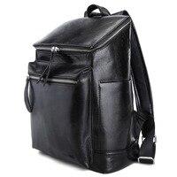 Весть черный кожаный школы Рюкзаки 13 дюймов ноутбука Сумки Мода Книга сумка для мальчиков и девочек 3172