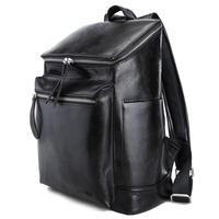 ab4a196f1f46 TIDING Black Leather School Backpacks 13 inch Laptop Bags Fashion Book Bag  for Boy Girl 3172