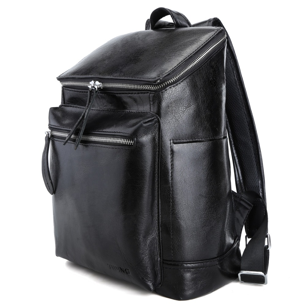 TIDING Black Leather School Backpacks 13 inch Laptop Bags Fashion Book Bag for Boy Girl 3172