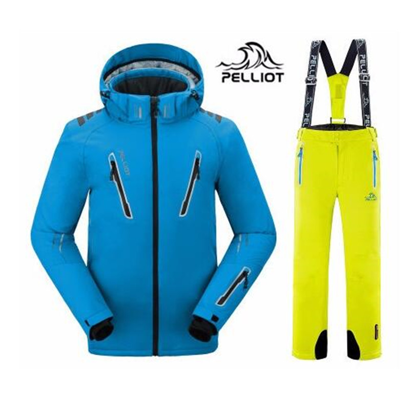 2019 Pelliot Male Ski Suits Jacket+pants Men Waterproof,breathable Thermal Cottom-padded Super Warm Snowboard FREE SHIPPING!