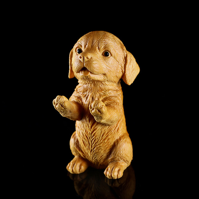 9cm Wood figure Lucky Dog Animals statue Mutt wooden Puppy figure statues for decoration home decor wood craft decors