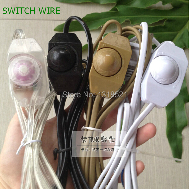 Free Shipping DIY Dimming Table Lamp Dimmer Switches Cable Accessories  Lighting Power Plug With 1.8m