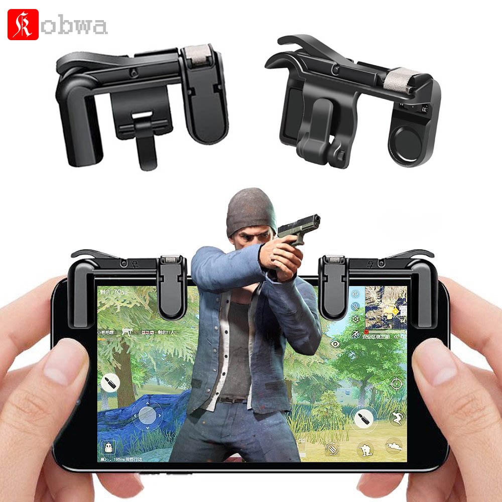 Kobwa Mobile Game Controller for PUBG Fire Button Aim Key L1R1 for Rules of Survival Smart Phone Gaming Shooter Controller