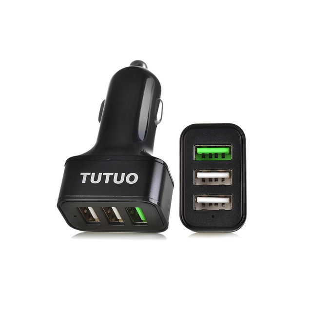 TUTUO QC-115 Car-Charger 3-Port USB Quick Charge 3.0 car charger for iPhone Xiaomi Huawei Meizu Tablet