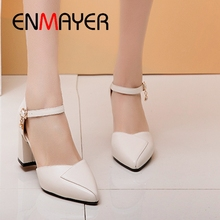 ENMAYER women high heel pumps  Genuine Leather  Basic  Pointed Toe  shoes woman 2019 new arrival  Casual shoes size 34-39 LY2518 fedonas new women high heel fashion pumps genuine leather round toe full season shoes woman pumps buckles party shoes big size