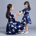 Family Matching Clothes Girls and Mother Dresses Girls Cartoon Dress