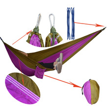 Portable Nylon Parachute Double Hammock Garden Outdoor Camping Travel Furniture Survival Hammock Swing Sleeping Bed For 2 Person